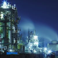 Chemical plant lights at night